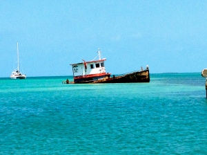 Boat moored off the coast of Caye Caulker.